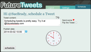 Futuretweets schedule screen
